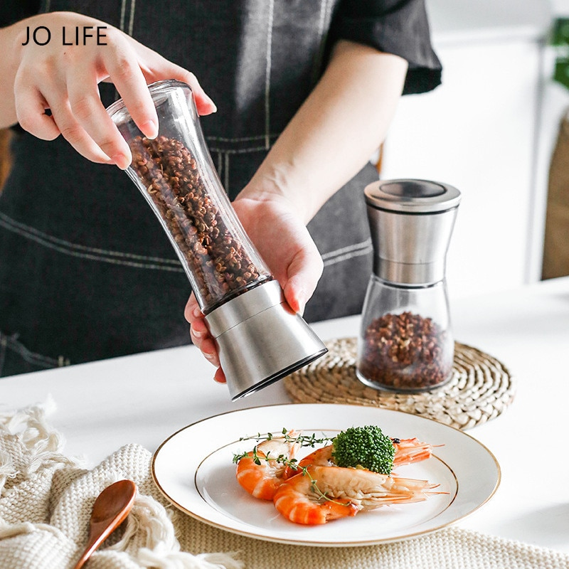 JO LIFE Seasoning Grinding Mills Stainless Steel Manual Sea Salt Herbs Spice Shredder Chopper Kitchen Tool Pepper Grinder