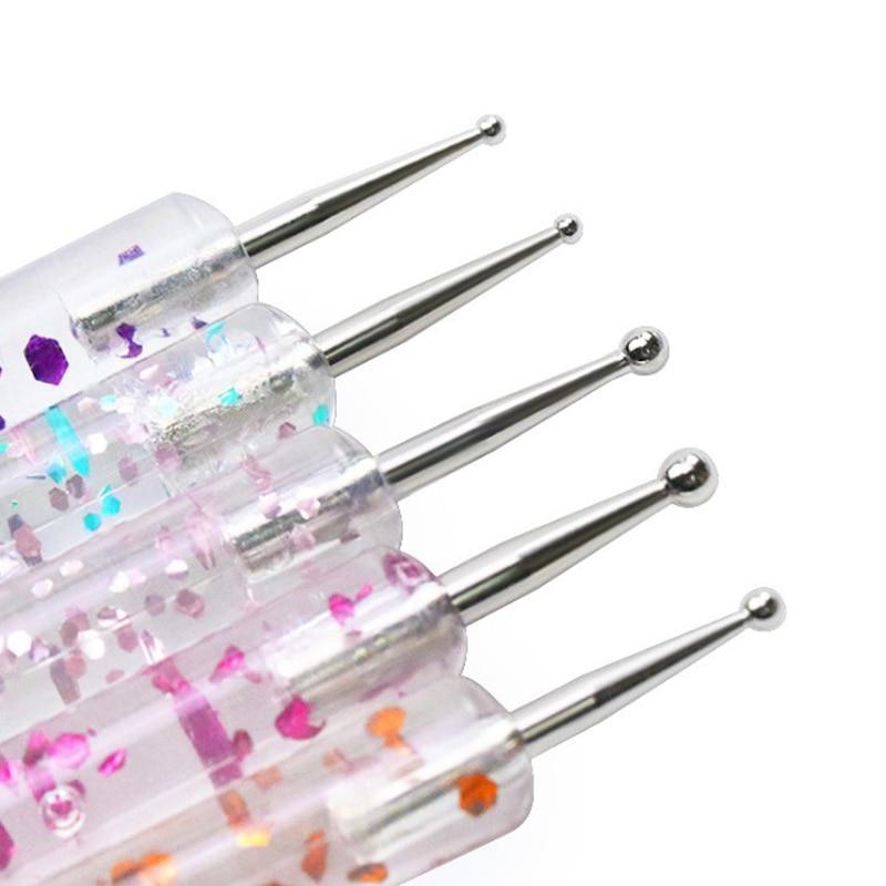 5Pcs 2 Way Nail Art Dotting Painting Pen Manicure Nail Glitter Tools Dotting Pen
