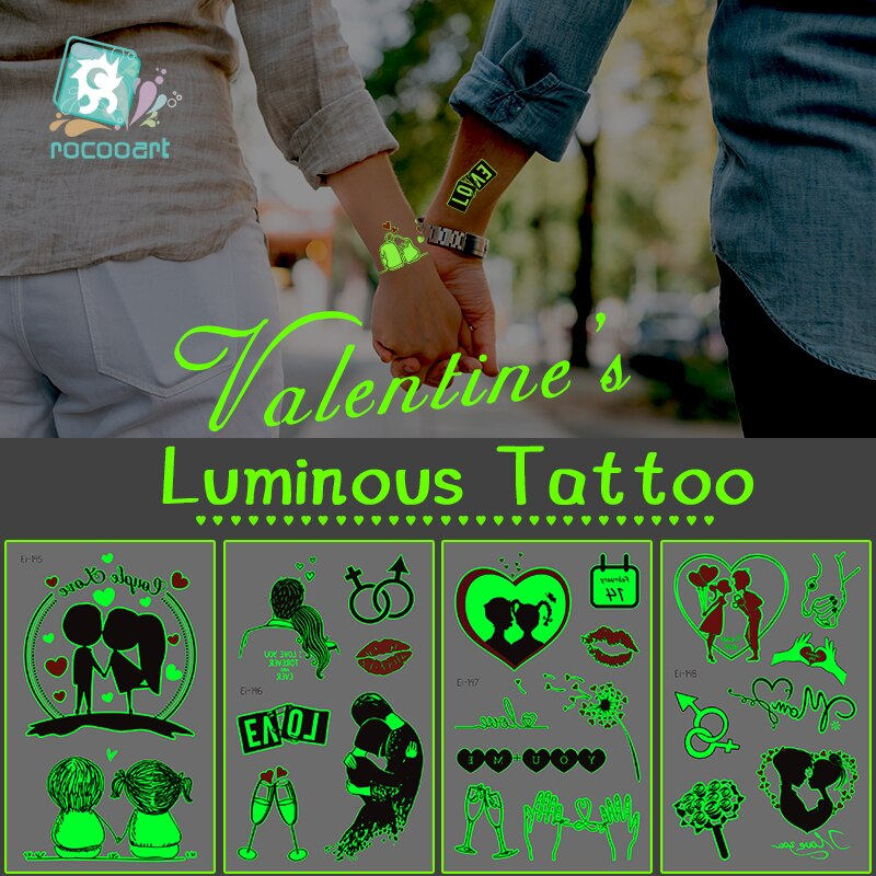 Valentines Day Glowing in the Dark Tattoo Sticker Adult Lovers Luminous Temporary Fake Taty For Men Women