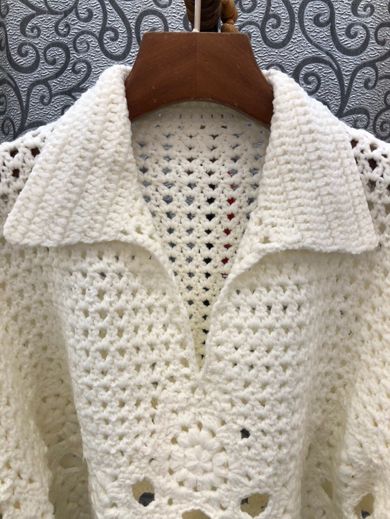 2021 Autumn Winter Fashion Sweaters & Pullovers High Quality Women Turn-down Collar Crochet Knitting Long Sleeve Casual Jumpers enlarge