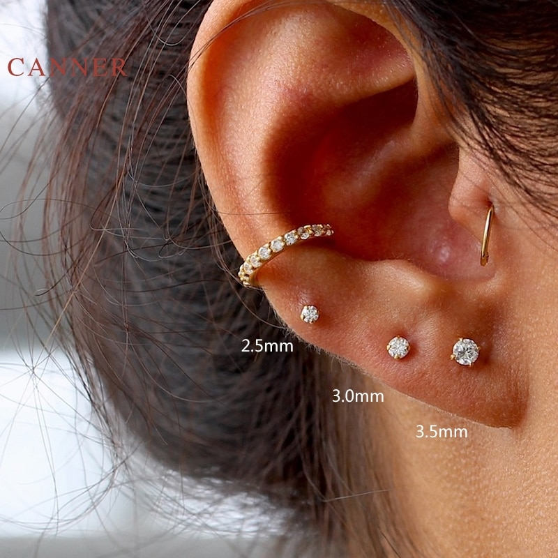 CANNER Real 925 Sterling Silver Earrings For Women Mini Four Claw Stud Earrings Zircon Diamond Korea