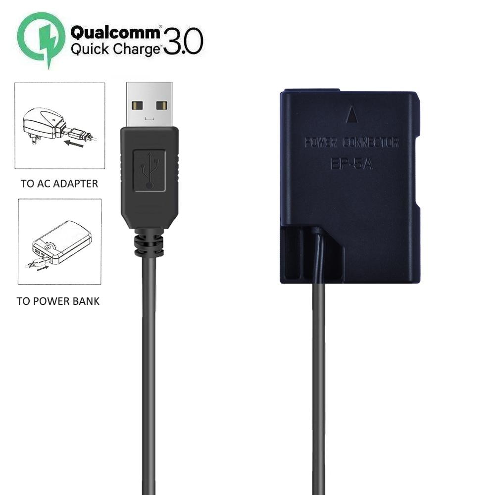 EP-5A EN-EL14a Dummy Battery DC Power AC Adapter for Nikon D3100 D3200 D3300 D3400 D3500 D5100 D5200 D5300 D5500 D5600 DF Camera