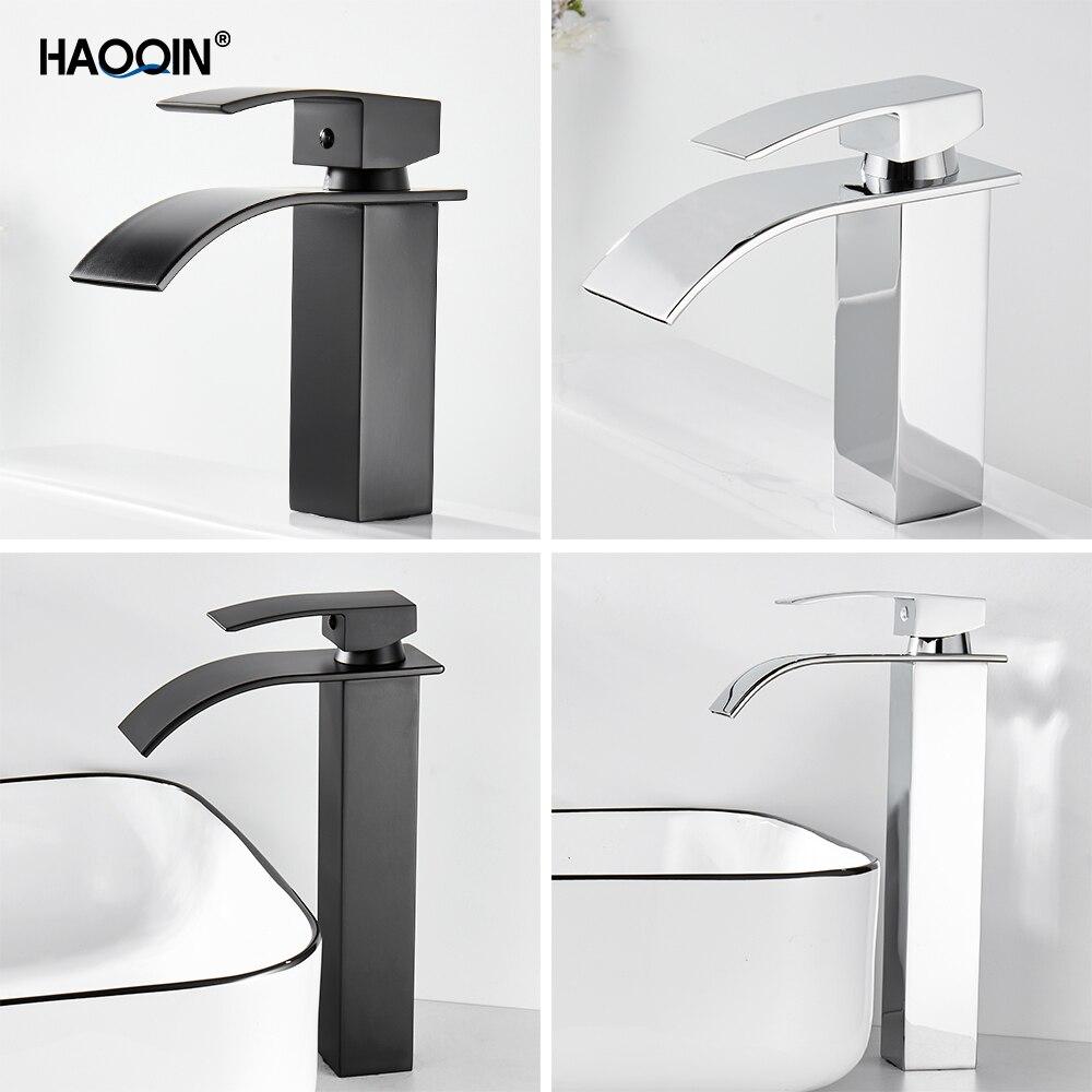 HAOQIN الأسود كروم حوض بالوعة صنبور ضئيلة حوض لدورة المياه المياه صنبور حوض خلاط المياه الباردة الساخنة حوض رافعة صنبور الحمام