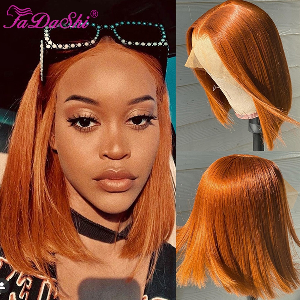 Short Bob Wigs Ginger Lace Front Wig Highlight Straight Bob Wig 13x4 Colored Lace Frontal Human Hair Wigs For Women Human Hair