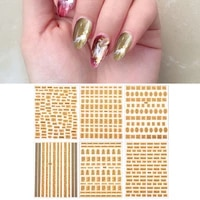 floating gold english letter nail sticker decoration hot selling nail art retro bronzing sticker accessories three dimensional