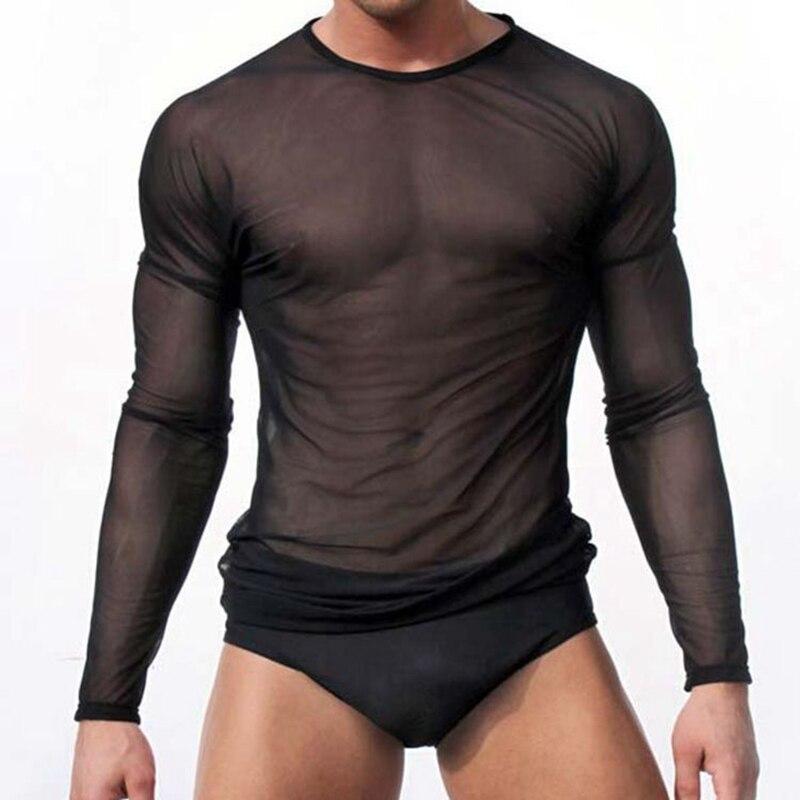 Men Undershirt Sexy Mesh Transparent Sheer Shirts Long Sleeves Slip Homme T Shirts Ondergoed Hemd Gay Top Tee Underwear Clubwear
