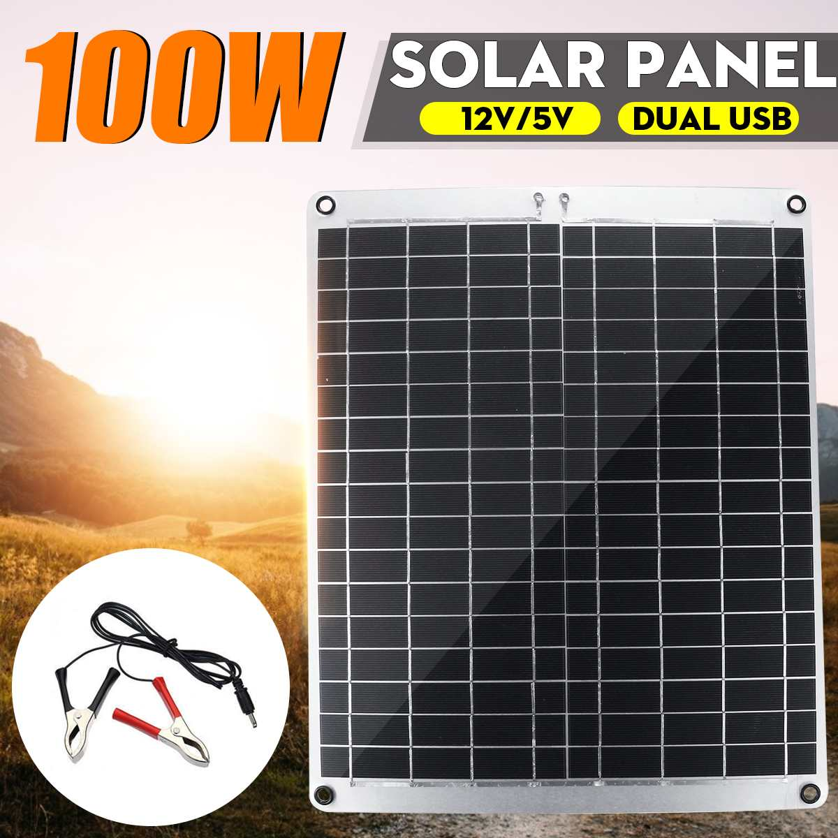 كفاءة 100W 12V/5V المزدوج USB الألواح الشمسية أحادية الخلايا الشمسية وحدة DC الخليوي ل سيارة يخت ضوء في الهواء الطلق بطارية شاحن