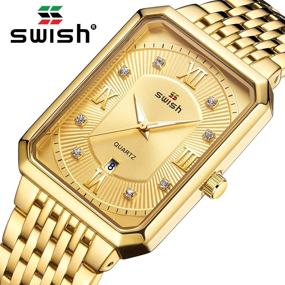 حفيف الذهب مستطيل ساعة الرجال الموضة الفاخرة الذكور ساعة اليد الكوارتز ساعات مقاوم للماء مضيئة الأعمال المعصم 2021