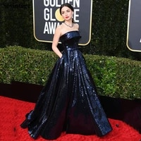 strapless sequines celebrity dress for golden globe plus size glitter evening gowns with bow pockets red carpet dress