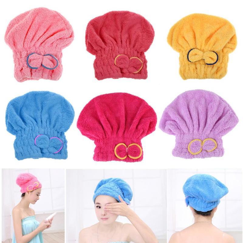 Home Textile Microfiber Hair Turban Quickly Dry Hair Hat Wrapped Towel Bath