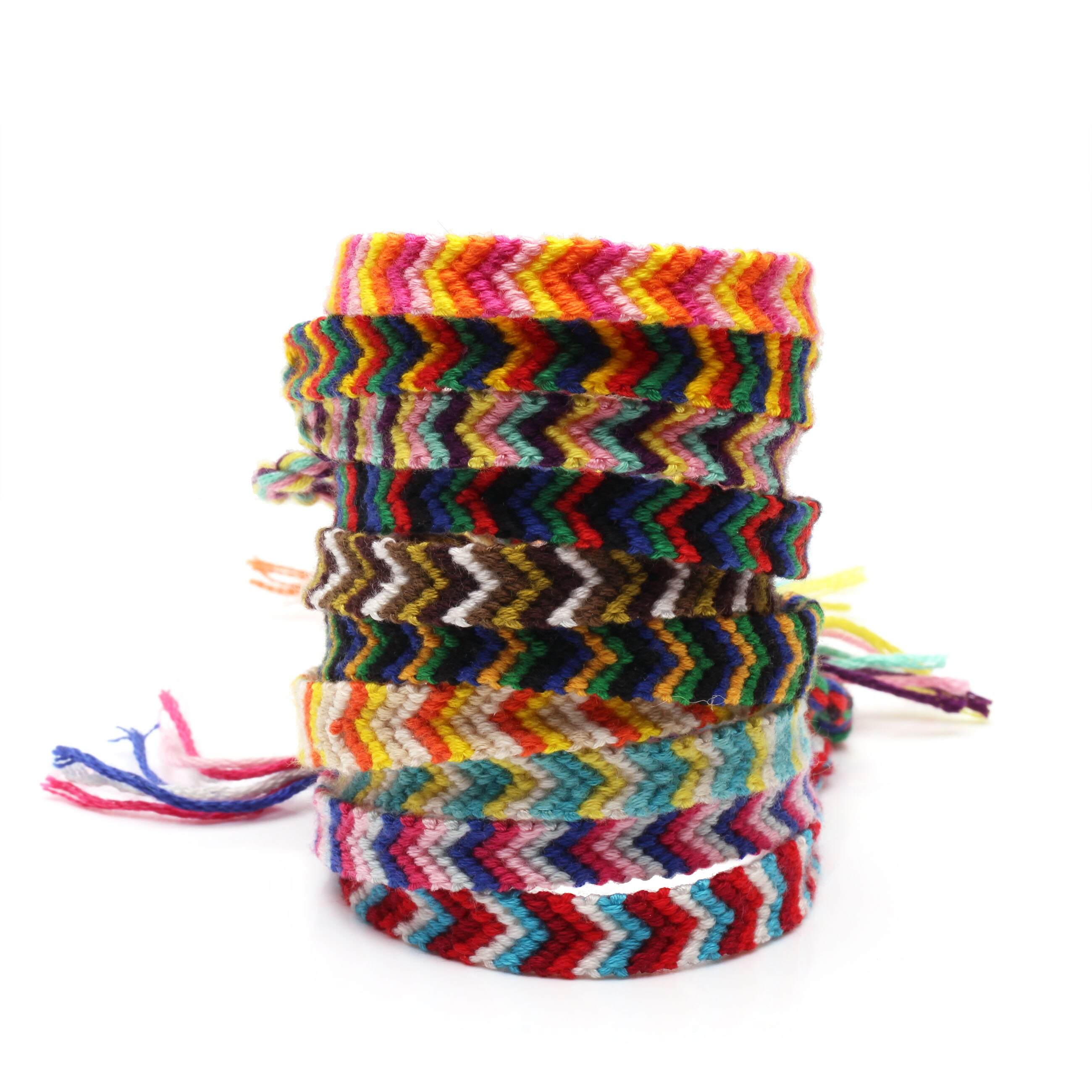 Boho multicolor bordado cadena macramé Chevron pulseras de la Amistad mujeres hombres chico Hippie joyas trenzadas clásicas presente