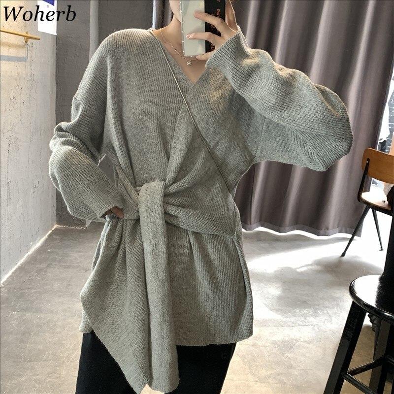 Woherb 2020 suéter de vendaje de punto con cuello en V de primavera mujeres elegante criss-cross Bottoming Pullovers mujer Casual Jumper Pull