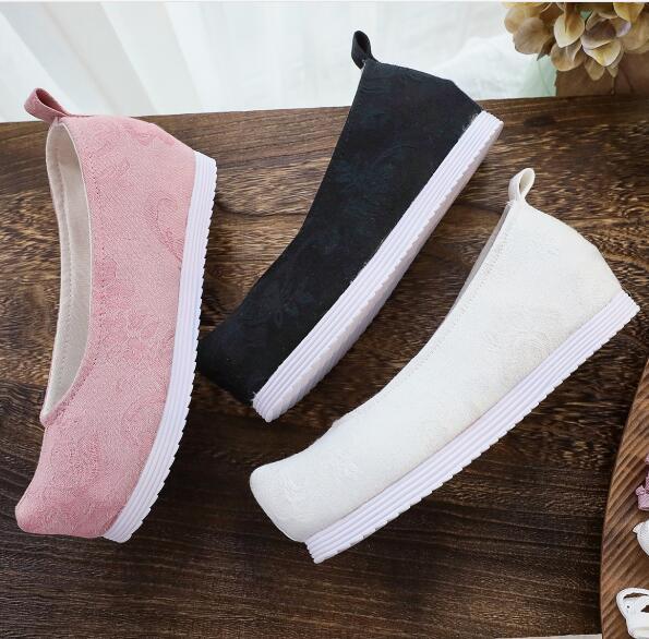 أحذية هانفو النسائية ، أحذية بمقدمة مفتوحة مع عناصر صينية ، لون نقي ، مطرزة ، زي صيني قديم ، قماش أنيق