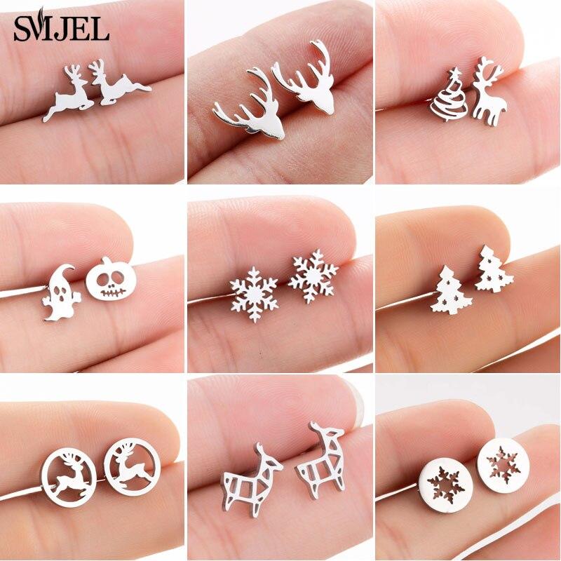 SMJEL Cartoon Animal Deer Stud Earrings Small Snowflake Earing for Girls Kid Stainless Steel Christm