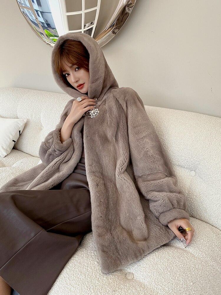 شتاء جديد المخملية مارتين معاطف المرأة كامل المنك مقنعين المنك الجلد الفراء معطف المرأة منتصف طول الشتاء ملابس النساء