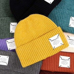 New Fashion Winter Solid Color Knit Beanie Women Men Thick Lining Casual Hat Warm Soft Acrylic Cap Warm Skullies Wholesale