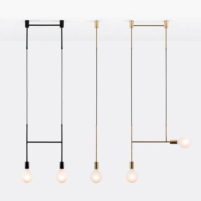 Nordic Creative Personality Chandelier Simple Modern Art Living Room Bedroom Bedside Wrought Iron Line Design Chandelier