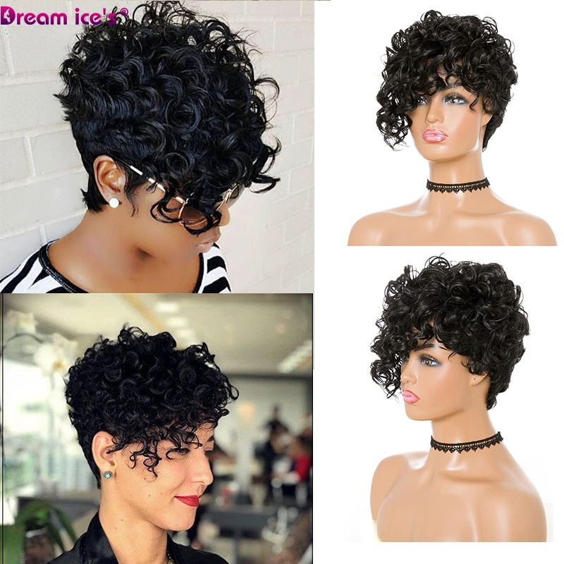 Short Kinky Curly Wig Afro American Wigs For Black Women Synthetic Heat Resistant With Bangs Cosplay Daily Use Dream Ice