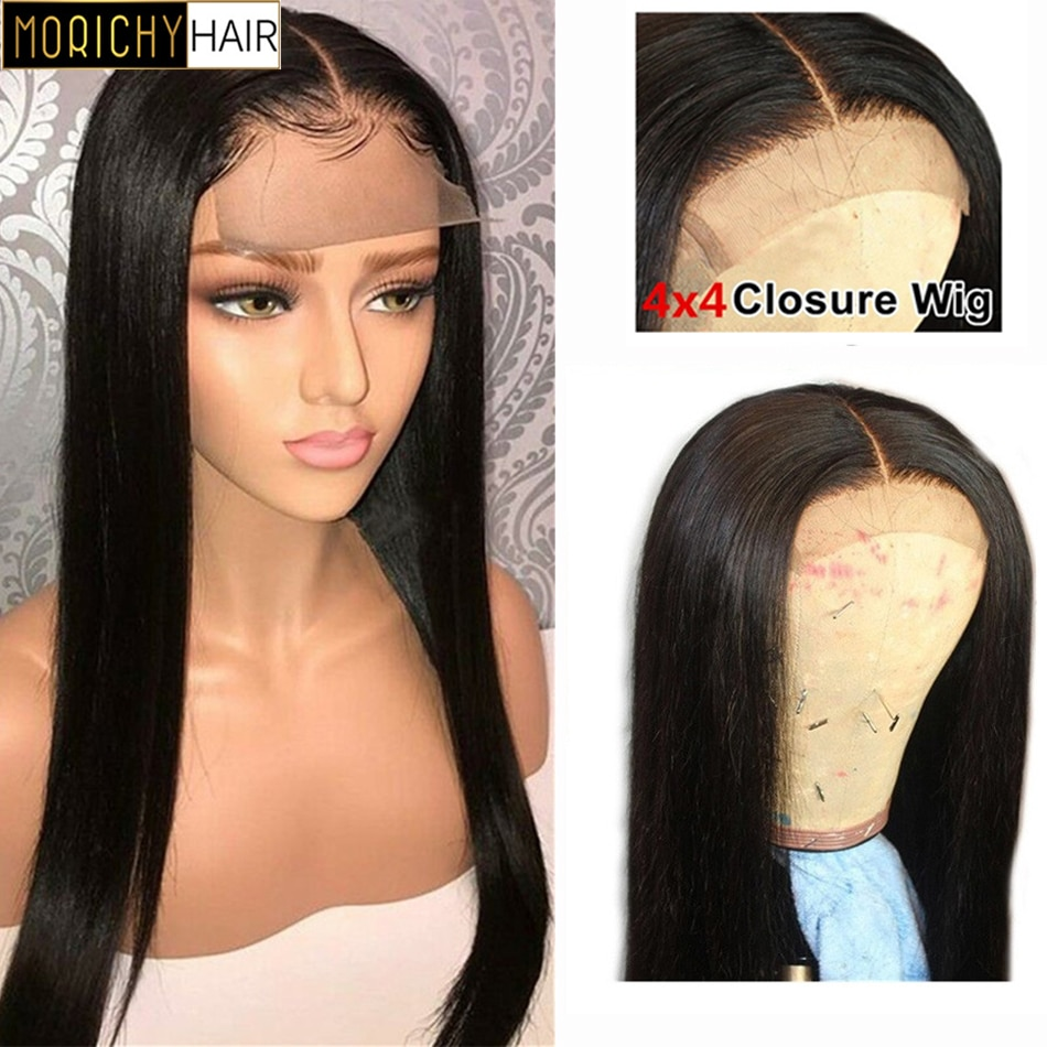 Morichy Bone Straight Lace Front Wig Pre Plucked Brazilian Lace Human Hair Wigs For Women 4x4 Lace Closure Wig