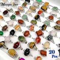 fashion 20pcslot vintage natural stones rings for man and women silvery charm metal wedding band jewelry gift