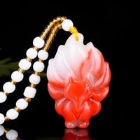 nine tailed fox natural red white jade pendant necklace chinese hand carved jadeite fashion charm jewelry amulet men women gifts