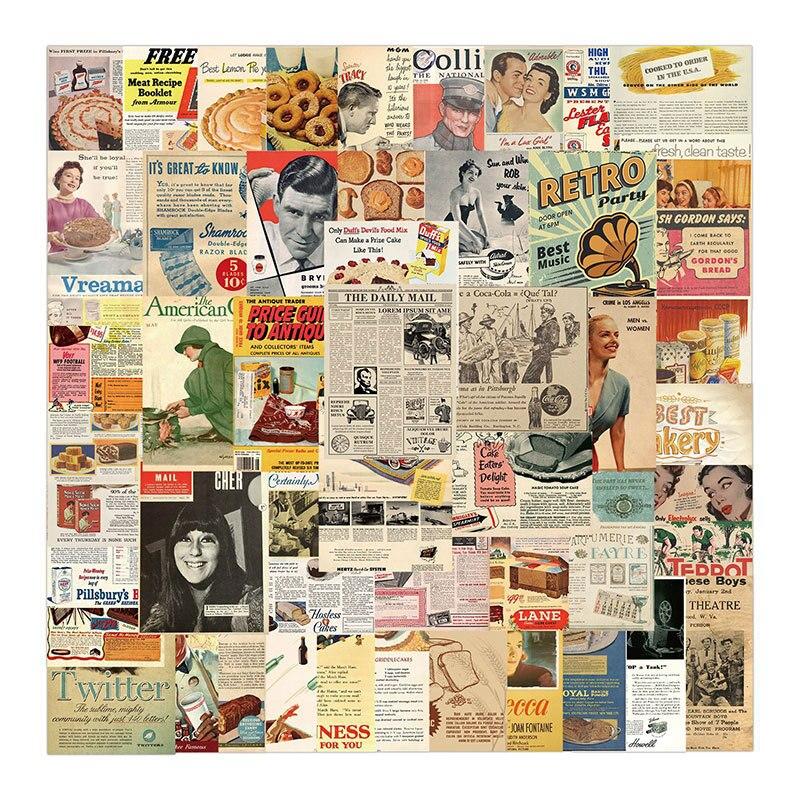 10/30/50pcs Vintage Retro Poster Kraft Paper Sticker Scrapbook Diary Journal Notebook Stationery Decorative Waterproof Sticker