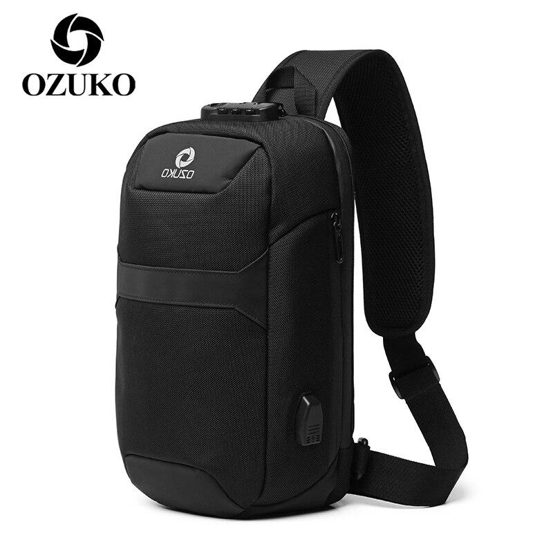 Bolso bandolera antirrobo OZUKO, impermeable, con carga USB, para hombre, Bolso bandolera de viaje corto, bolsa individual, bolsas para el pecho para hombre