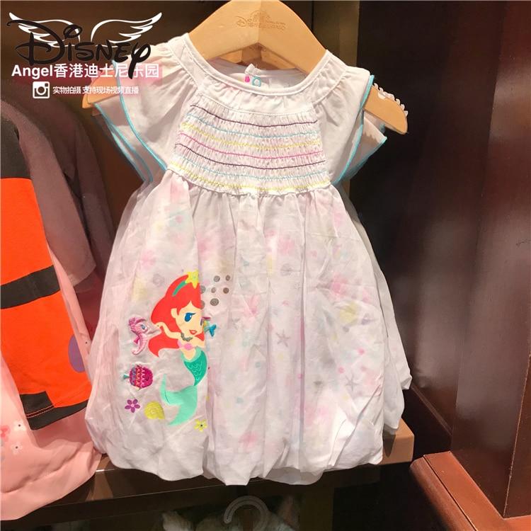 Disney Child Girl Mermaid Cute Princess Cartoon Short Sleeve Ruffles Bubble Skirt Baby Dress long skirts for women
