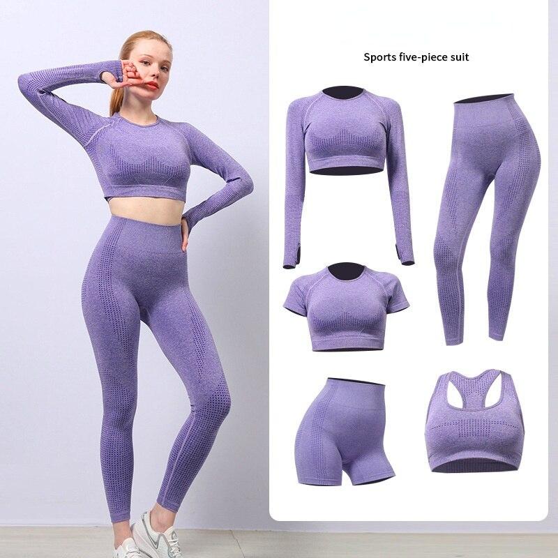 Conjunto De Yoga Sin Costuras Para Mujer De Ropa Deportiva Para Entrenamiento De Gimnasio Top Corto De Manga Larga Para Ejercicio De