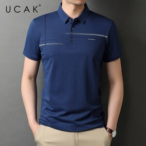 UCAK Brand Classic Turn-down Collar Cotton T Shirt Men Clothes Summer New Fashion Tops Streetwear Casual Soft Tshirt Homme U5472