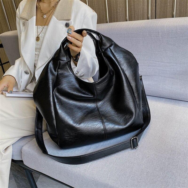 Simple Leather Women Half Moon Bags Large Capacity Hobo Shopper Bag Quality Soft PU Crossbody Bag Casual Korean Female Tote Bags