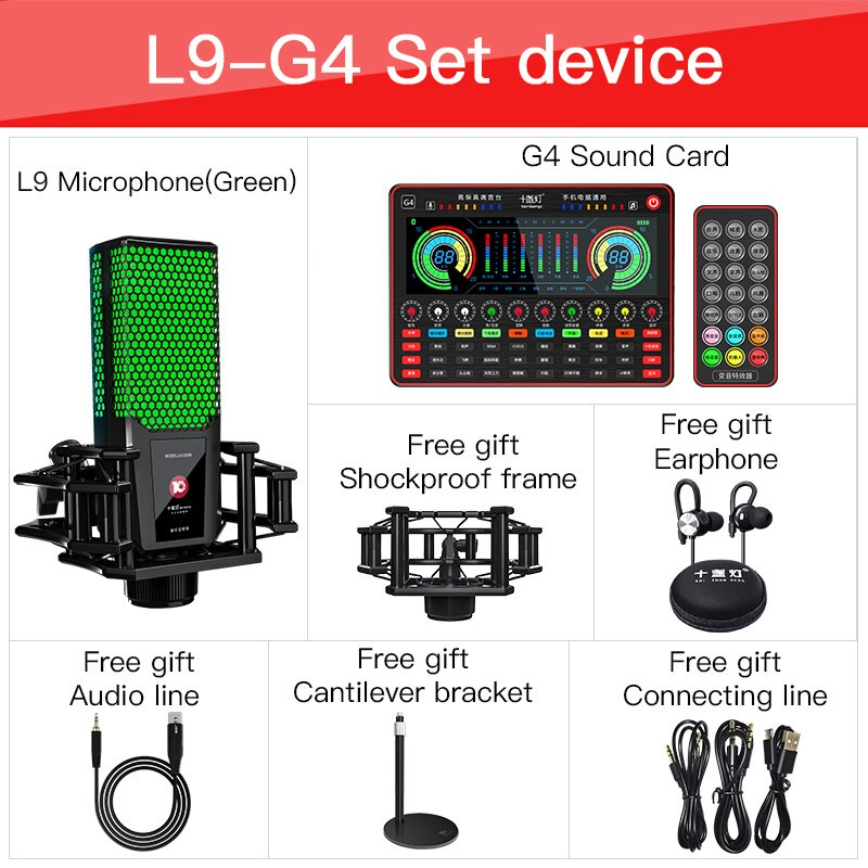 Bluetooth Sound Card Audio USB Headset Microphone Webcast Live Sound Card for Phone Computer PC Sing