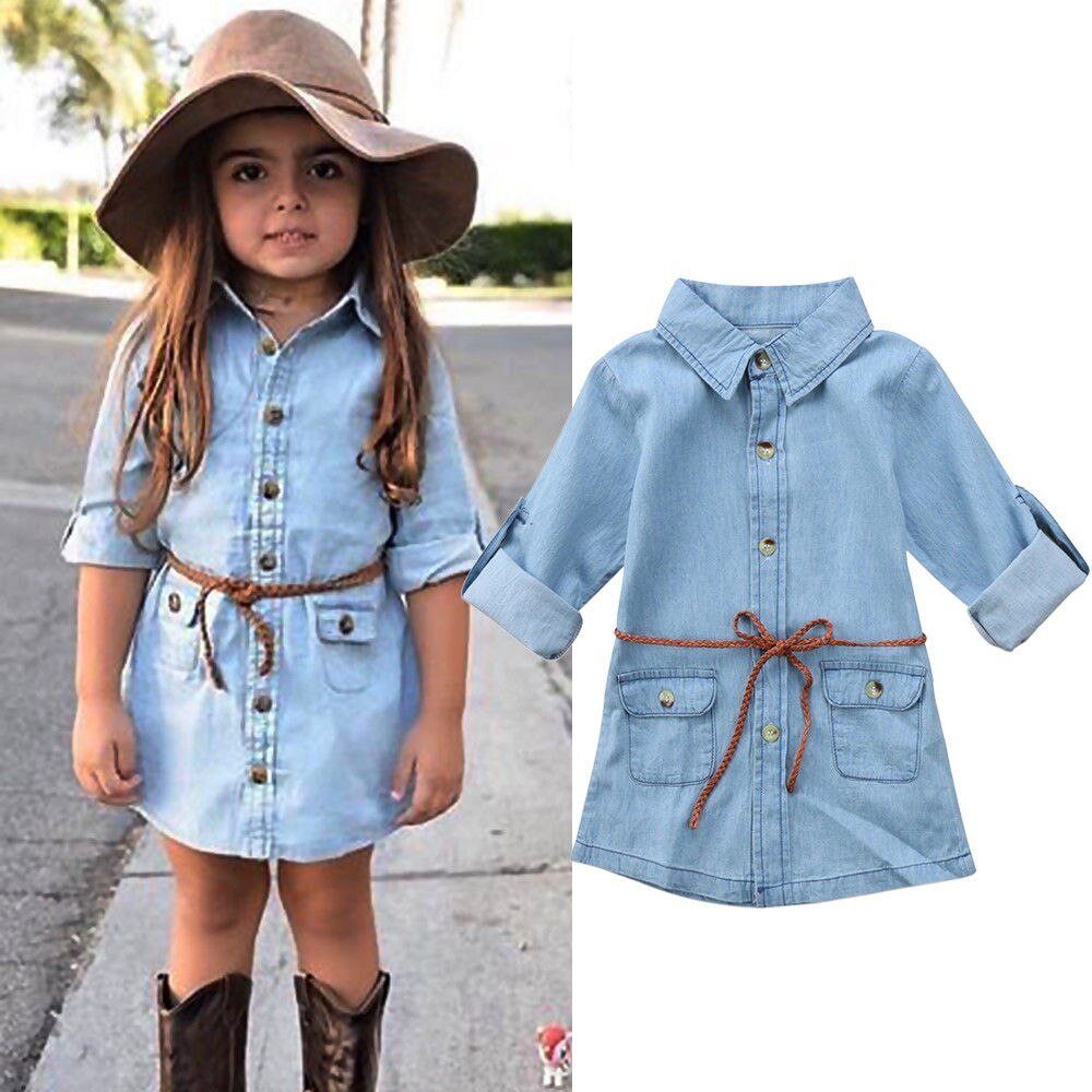 ¡Novedad! Vestido vaquero para chica infantil, camiseta de manga larga con bolsillo, minivestido holgado, ropa de moda 2-7T