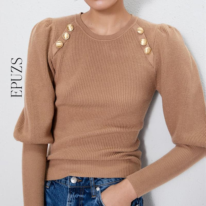 חורף פנינת שרוול פנס סוודר נשים בסוודרים מקרית שיק שחור לבן סוודר אלגנטי חורף בגדי נשים