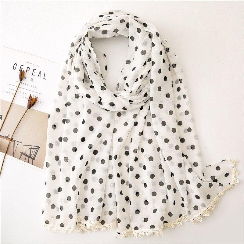 2021 Spain Luxury Fashion Women Viscose Scarf Polka Dot Patchwork Beach Hijab Shawls and Wraps Foulard Echarpe Muslim 180*100 cm