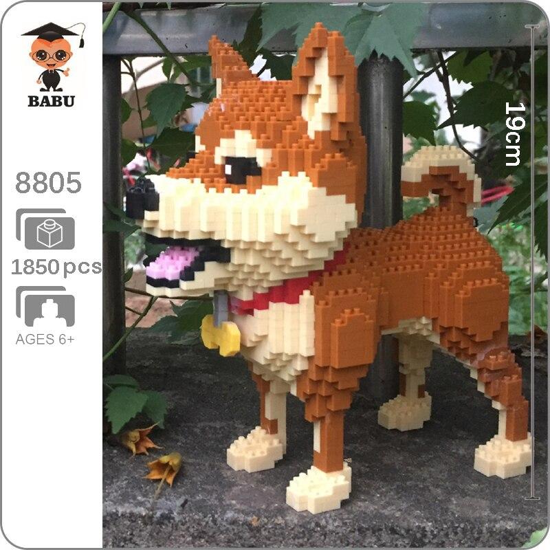 Babu Animal chien de compagnie Shiba race brun 3D modèle Figure blocs de construction Kit bricolage diamant Mini brique de construction jouet enfants jouet cadeaux