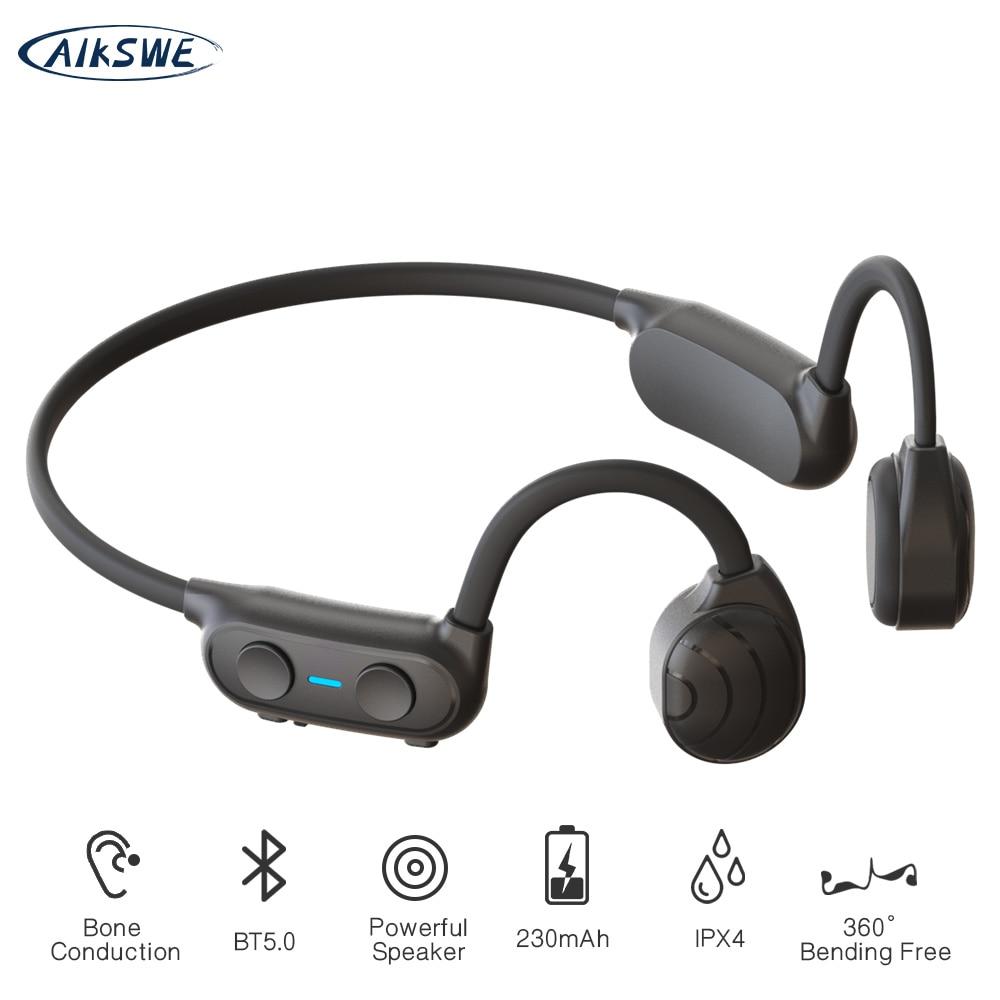 AIKSWE-سماعة بلوتوث لاسلكية ، سماعة رأس رياضية ، توصيل عظمي ، IP56 ، ستيريو ، بدون استخدام اليدين ، مع ميكروفون للجري