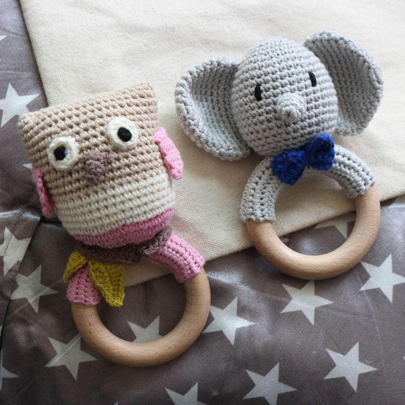 Anneau de dentition en bois pour bébé, bricolage de jeu molaire, hochet de sucette, jouet de dentition, DIY, T3LA