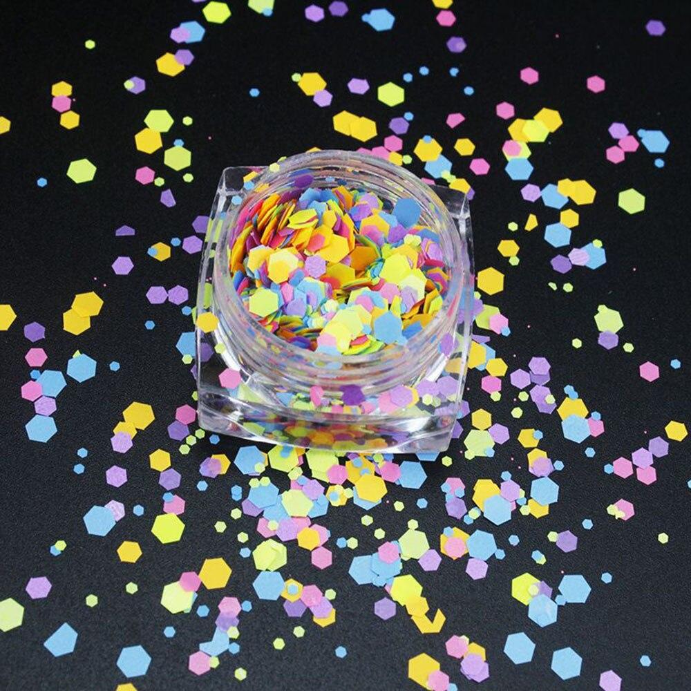 Купить с кэшбэком 2g/jars Mixed Nail Glitter Flakes Fluorescent Color Ultra-thin Nail Sequins Sticker DIY Mixed-Shape Nail Art Decorations Flakes