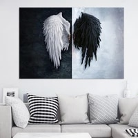 black and white angel wings canvas painting creative feather wings poster living room background wall art pictures home decor