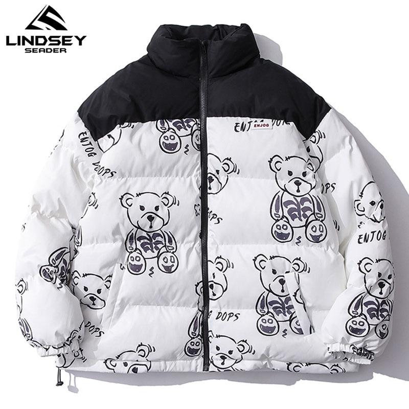 LINDSEY SEADER Men's Winter Warm Jacket Coat Patchwork Cartoon Bear Heated Padded Puffer Jacket Oversize Parka Men's Clothing