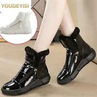 women winter snow boots waterproof glossy winter shoes female faux fur platform warm comfy ankle boot fashion thick heels botas