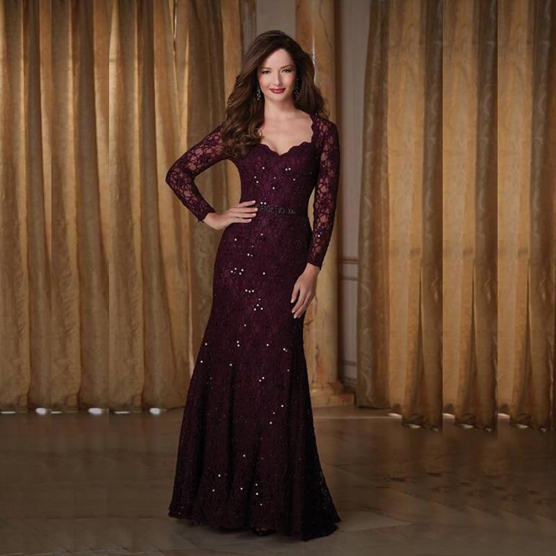Purple Mother Of The Bride Dresses Mermaid Sweetheart Long Sleeves Lace Beaded Long Elegant Groom Mo