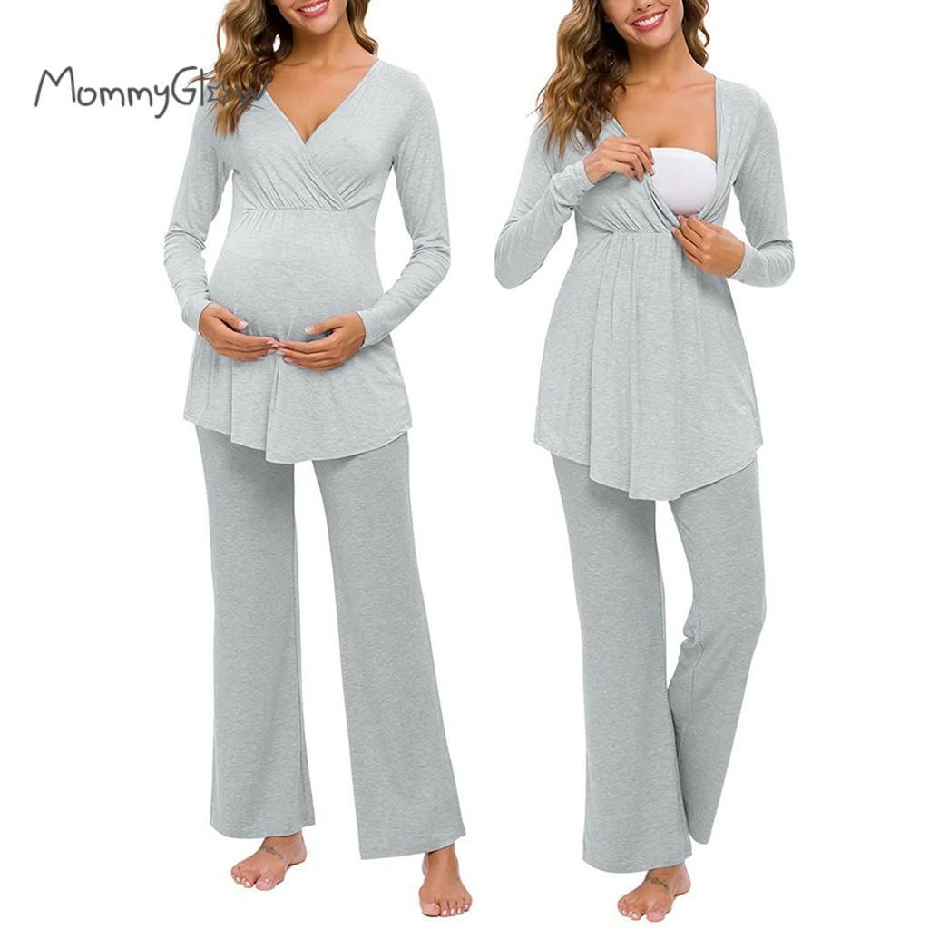 الأمومة ملابس النوم النساء الحمل التمريض الطفل قمم تي شيرت السراويل منامة مجموعة دعوى الرضاعة الطبيعية Homewear للنساء الحوامل