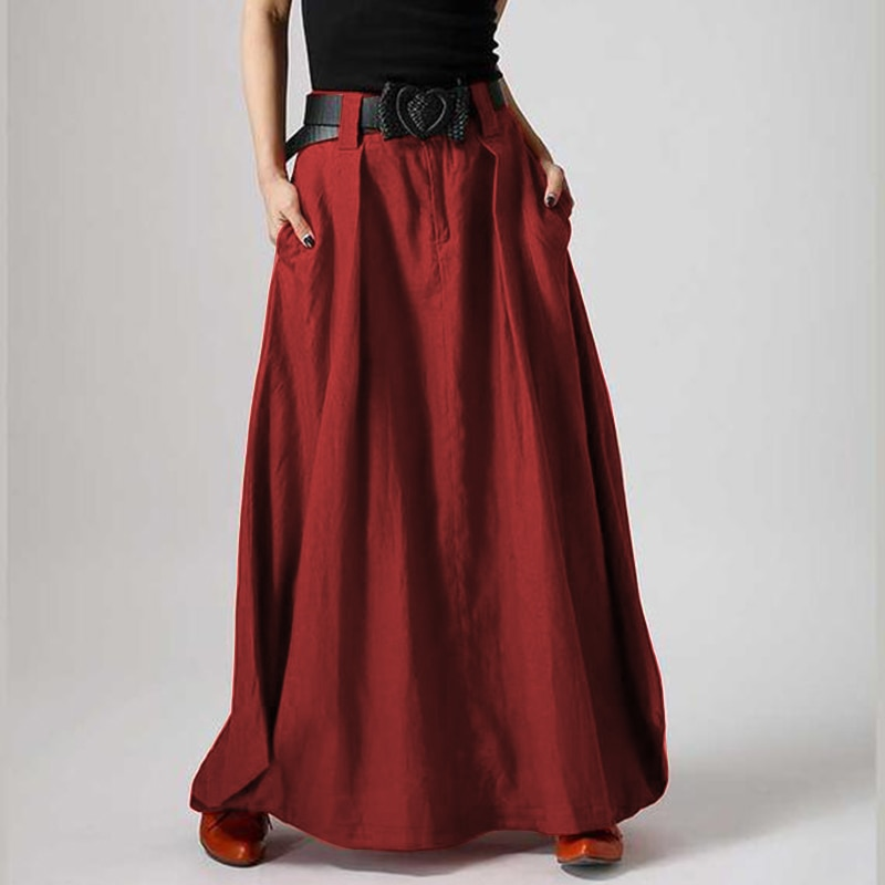 Beach Maxi Long Skirt ZANZEA Summer Zipper Skirts Women Elegant Solid Skirts Bohemian Skirt Jupe Female Faldas Saia Oversized beach maxi long skirt zanzea summer zipper skirts women elegant solid skirts bohemian skirt jupe female faldas saia oversized