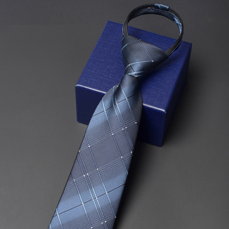 Brand New High Quality Men's Fashion Zipper Ties Business Tie 8cm Wide Casual Formal Neckties Blue Striped Ties for Men Gift Box