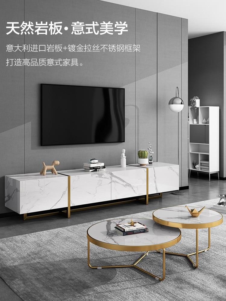 grande promo meuble tv et table a the en marbre style italien leger luxueux moderne simple de petite taille style nordique et europeen