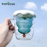 2021 new cup transparent double anti scalding glass christmas tree star cup coffee milk juice mug childrens gift