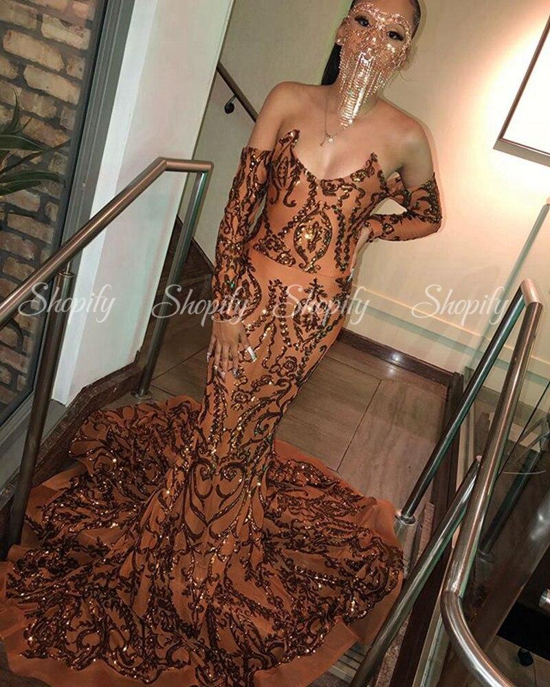Tiempo hermosa sirena Sexy vestidos 2020 de manga larga Niña negra africana fiesta marrón baile de graduación de gala Vestidos