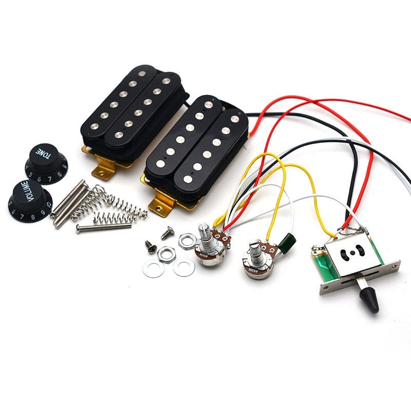 Electric Guitar Pickup Wiring Harness Prewired 3-Way Switch HH Pickup for ST Electric Guitar Black